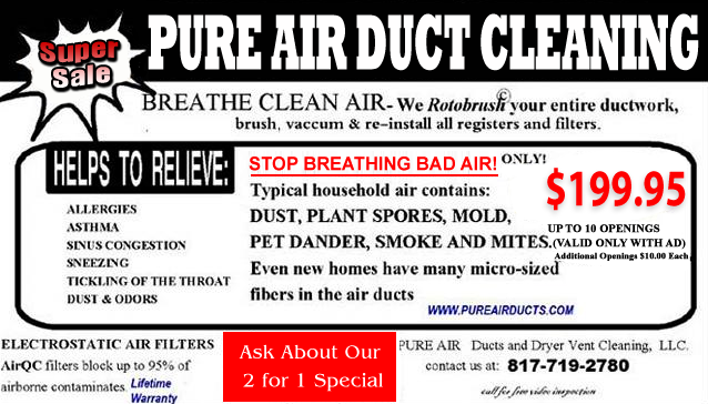 Super Sale, Air Duct Ventilation Cleaning, Arlington, TX